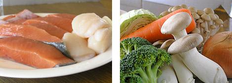 鮭などのシーフードや野菜を用意してください。