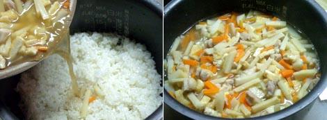 ご飯と一緒に炊飯器へ!後は、炊き上がるのを待つだけです!!