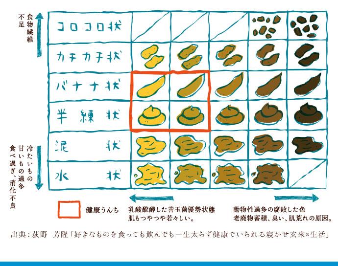 健康的なうんちの指標 出典:荻野 芳隆「好きなものを食っても飲んでも一生太らず健康でいられる寝かせ玄米®生活」